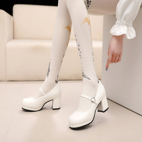 Black/White Studens Cosplay Heels SE11245