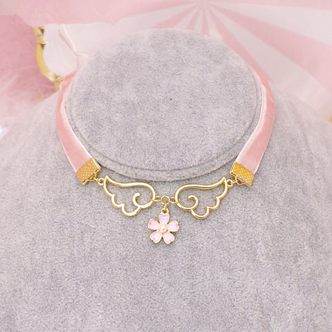 Pink harajuku wings flower necklace SE9909