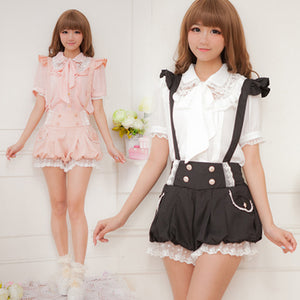 Japanese,Kawaii,Bow,Chiffon,Blouse,Straps Shorts,