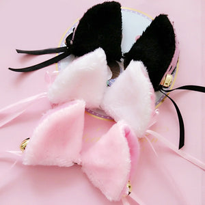Japanese lolita maid fuzzy cat ear hair clips