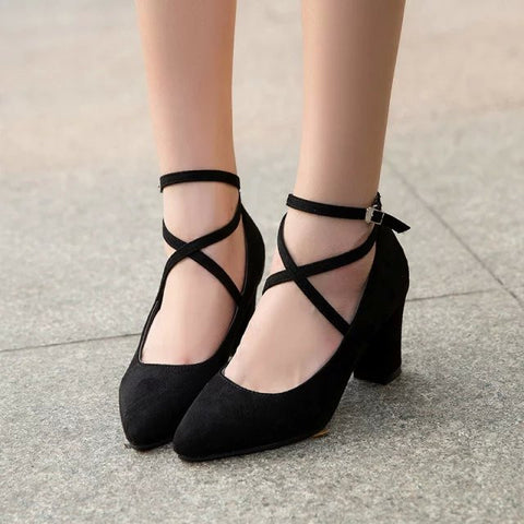 Black/grey heels shoes SE9865