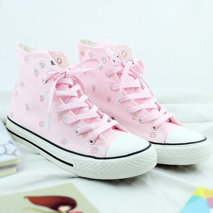 Lovely strawberry hand-painted canvas shoes