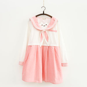Sweet pink cute bear embroidery rabbit ears navy dress SE11134