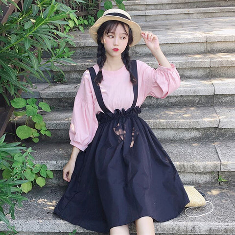 Cute Lantern Sleeve Shirt Strap Skirt SE20043