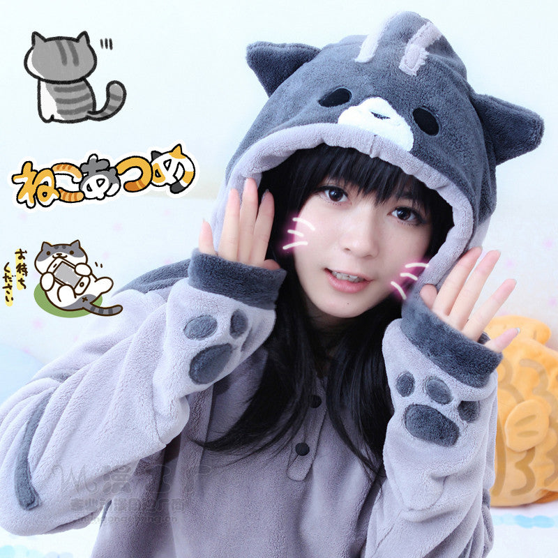 Kawaii cats flannel hooded fleece