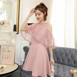 Lace Dew Shoulder Bowknot Dress SE11345