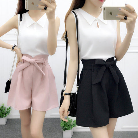 Sweet,vest blouse,bow shorts,chiffon,two-piece,pink,doll brought,pocket shorts,