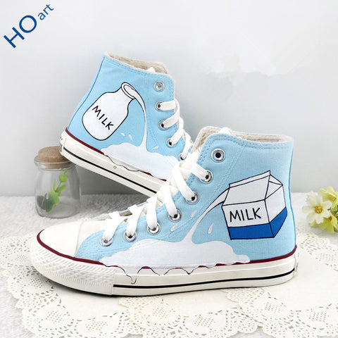 Student milk box hand-painted canvas shoes SE9189