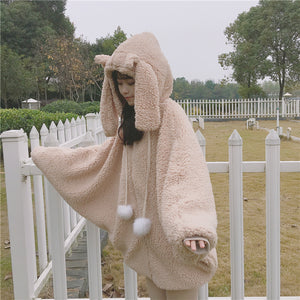 Sweet Hooded Rabbit Ear Fleece Coat SE20133