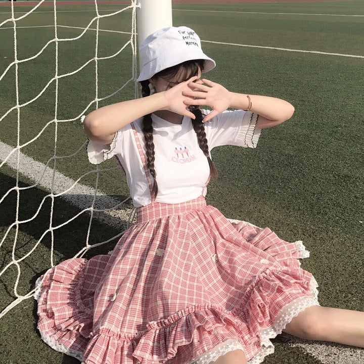 Sweet grid straps skirt / printed t-shirts SE11119