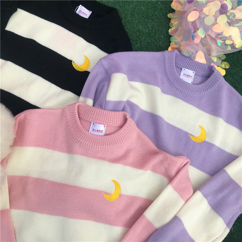 Striped Moon Sweater SE20022