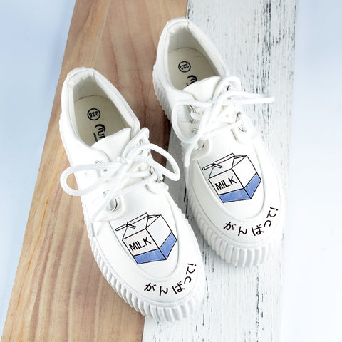White milk hand-painted platform shoes SE10126
