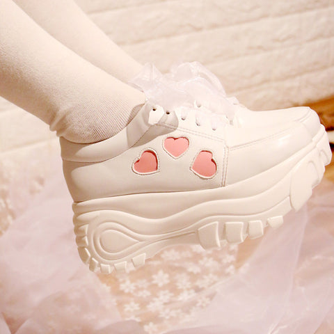 Japanese kawaii heart lace platform shoes