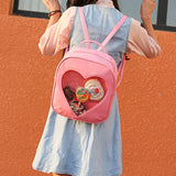 Harajuku sweet candy color transparent heart backpack SE7530