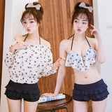 Korea sweet chiffon floral bikini three-piece suit