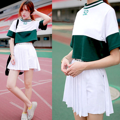 Lovely baseball T-shirt + pleated skirt two-piece outfit SE7606