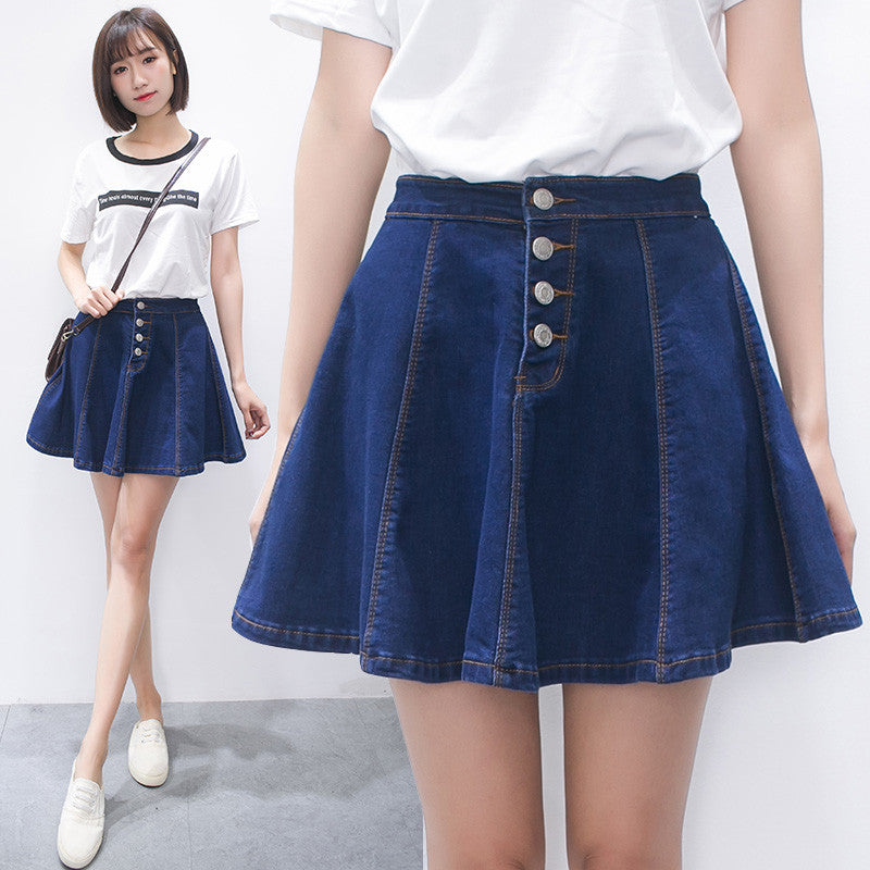 Students tall waist denim skirt SE10216
