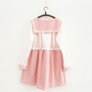 Pink Navy Rabbit Ear Dress SE11134