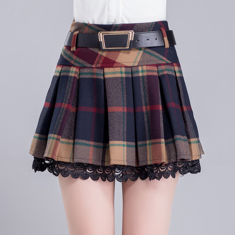 Winter grid pleated skirt SE9368