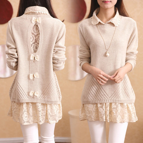Sweet lace sweater two-piece SE10773