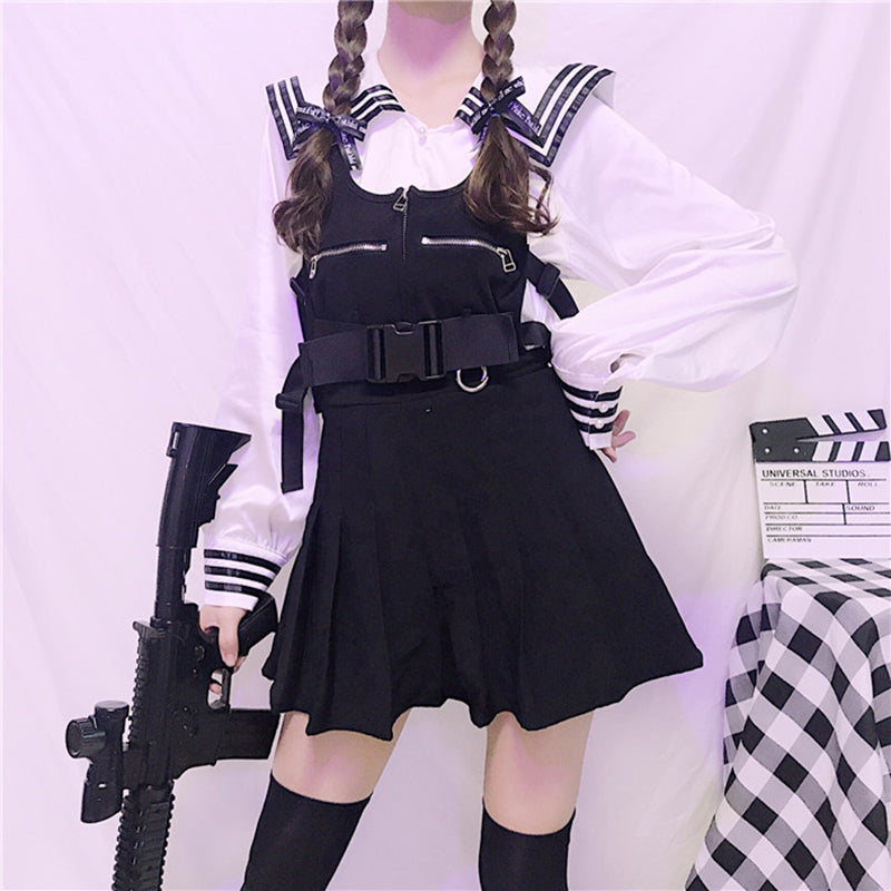 Japanese Sailor Shirt Pleated Strap Dress Set SE20298