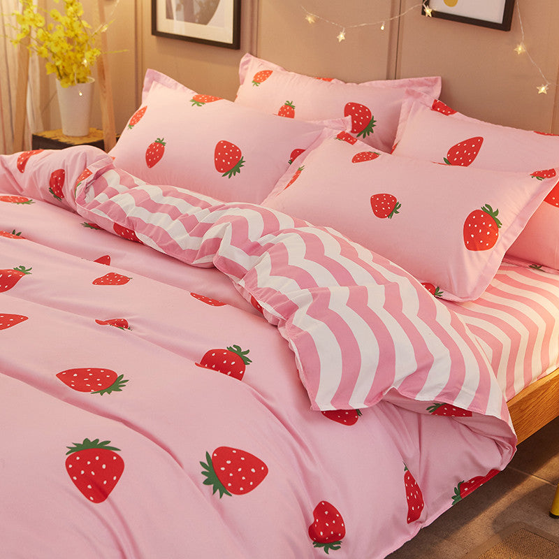 9d9f1aa6c2 Pink sweet strawberry printing bed sheet set 4 pieces SE10382 – SANRENSE