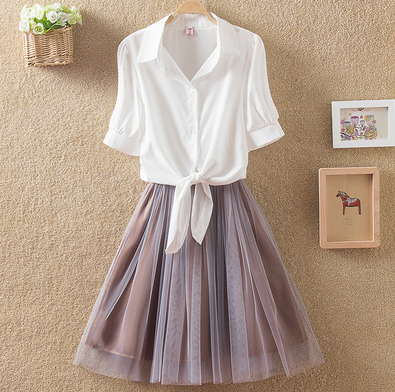 Korea,shirt,skirt,two-piece outfit,dress,white,blouse,twin set,