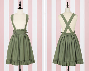 Cute kawaii Bow Chiffon Braces Skirt Set SE11423