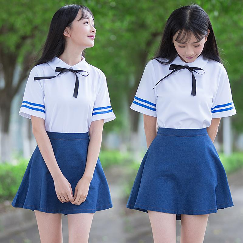 09d4441919 Japanese Students Shirt + Skirt Two-Piece Outfit SE7604 – SANRENSE