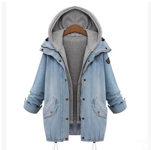 Fashion students denim hooded fleece coat two-piece