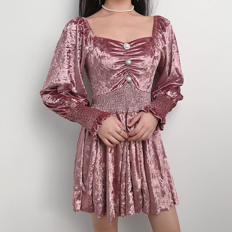 Vintage Flared Sleeves Velvet Dresses SE20741