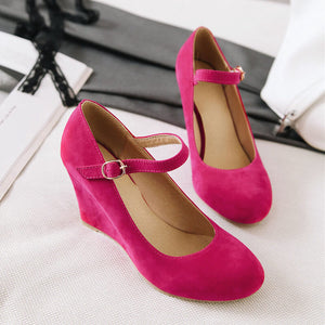 Vintage Frosted Suede Wedges Shoes SE20568