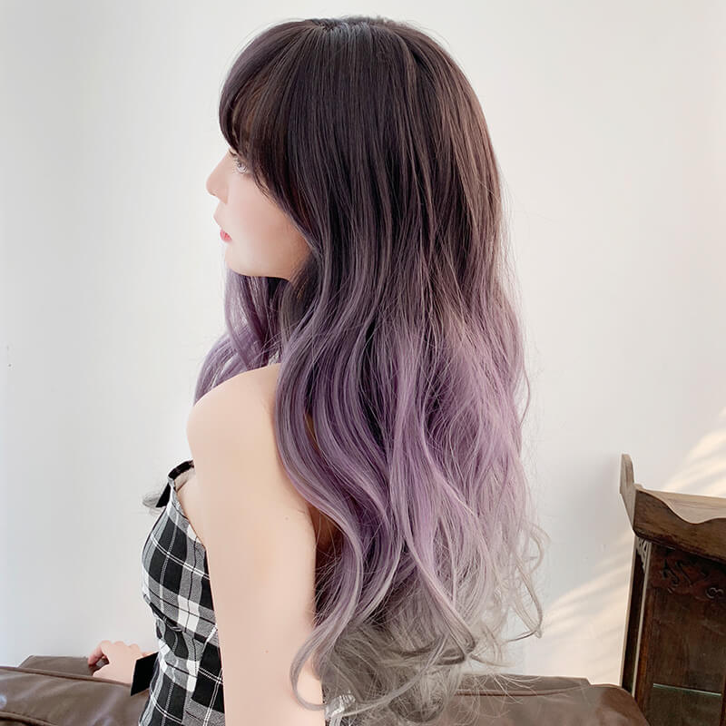 Wavy Purple Gray Gradient Wig SE20440