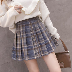 Woolen Striped Plaid Skirt SE21244