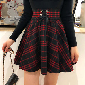 Woolen High Waist Plaid Skirt SE20218