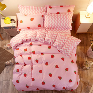 Pink sweet strawberry printing bed sheet set 4 pieces SE10382
