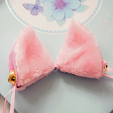 A pair of Japanese maid fuzzy cat ear hair clips SE7987