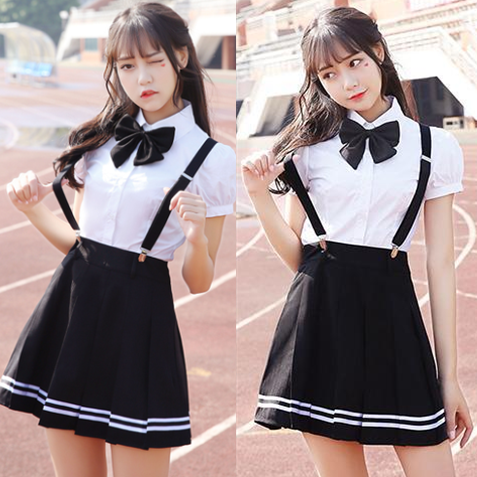 Students bowknot shirt + strap skirt two-piece SE10446