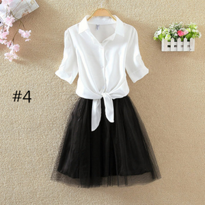 Korea Shirt Skirt Two-piece Outfit SE7589