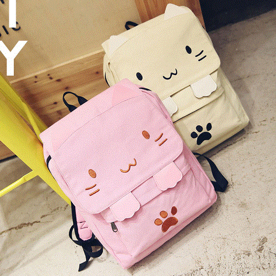 Cartoon Cat Canvas Backpack SE10208