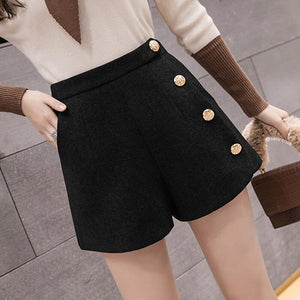 Zipper Button Woolen Shorts SE21301