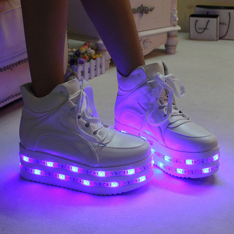 Hot sale! Fashion kawaii colorful led light up platform shoes