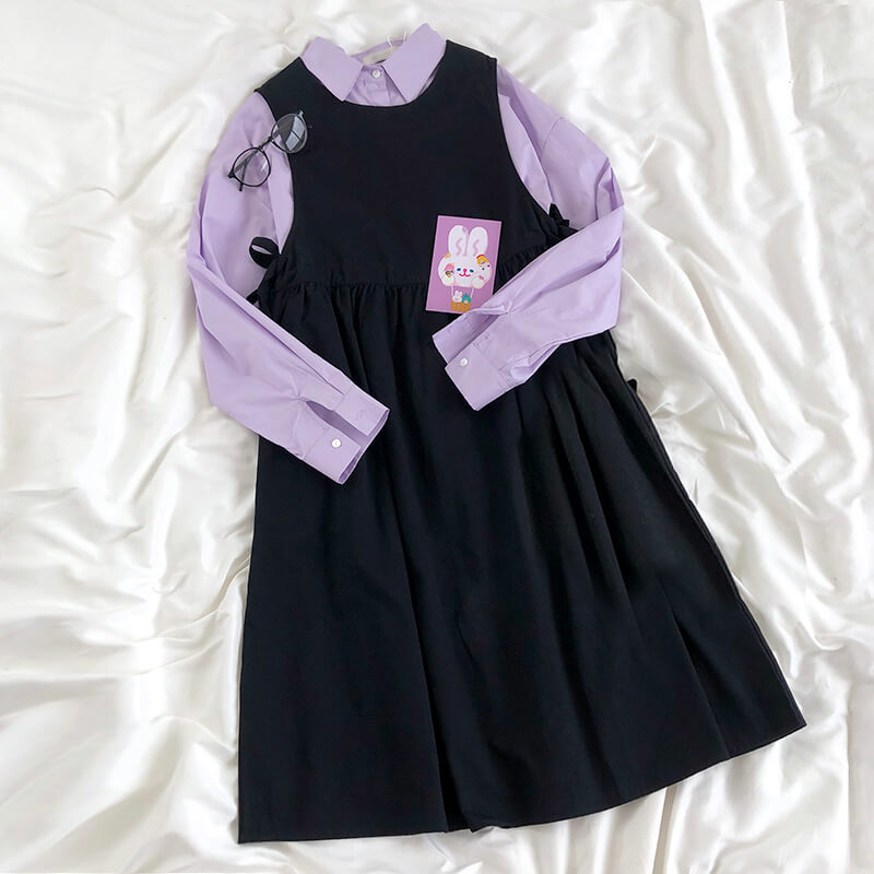 Purple Shirt Black Strap Skirt Suit SE21501