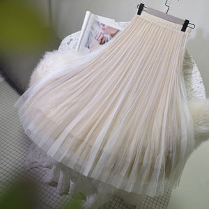 Japanese Sequin Mesh Pleated Skirt SE20369
