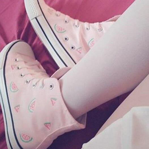 Kawaii watermelon pink canvas shoes review SE95