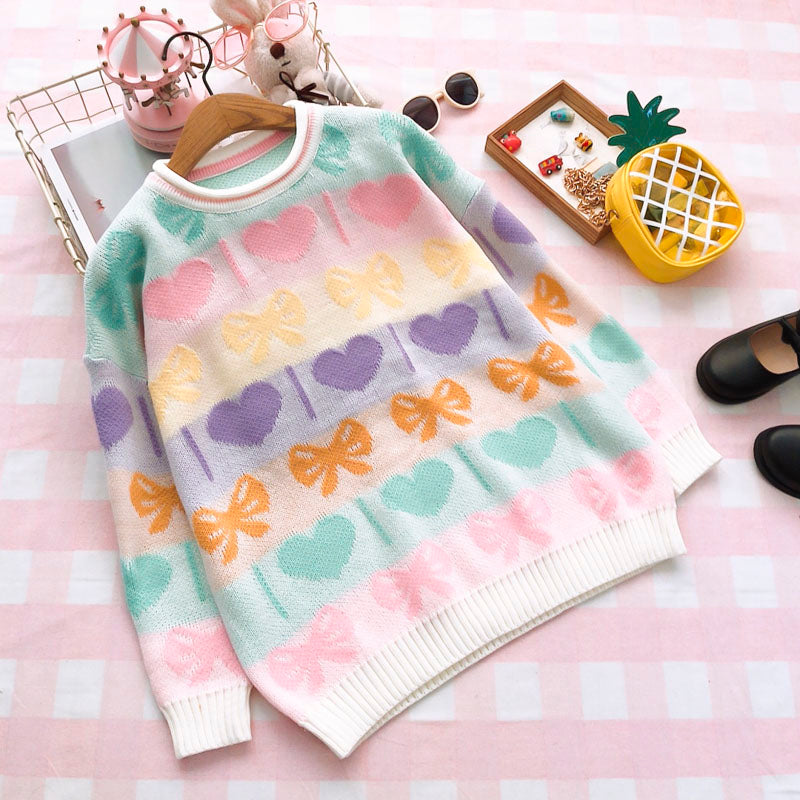 765990377b Sweet Colorful Love Bow Knit Sweater SE20122