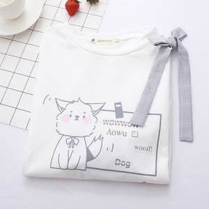 wooif!Cute Cat Bow Top SE20292
