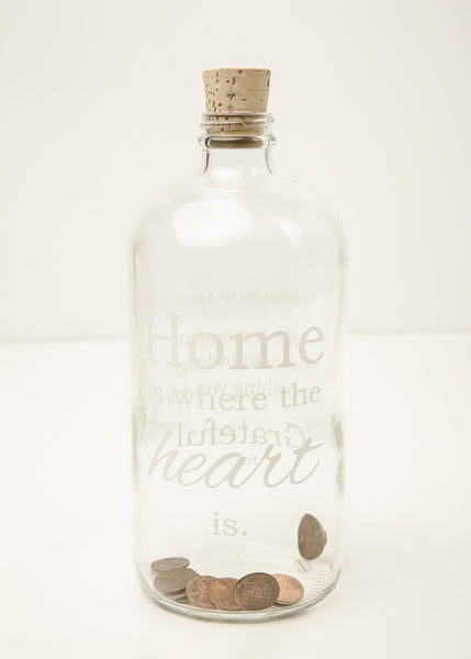"""Home is where the Heart is"" - Clear Apothecary Jar"