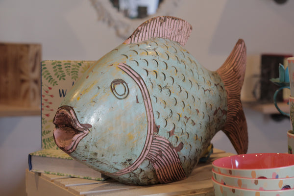 Hand carved Wooden Fish Sculpture