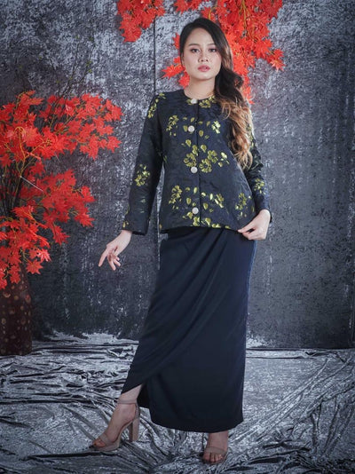 Primrose Brocade Kurung in Black